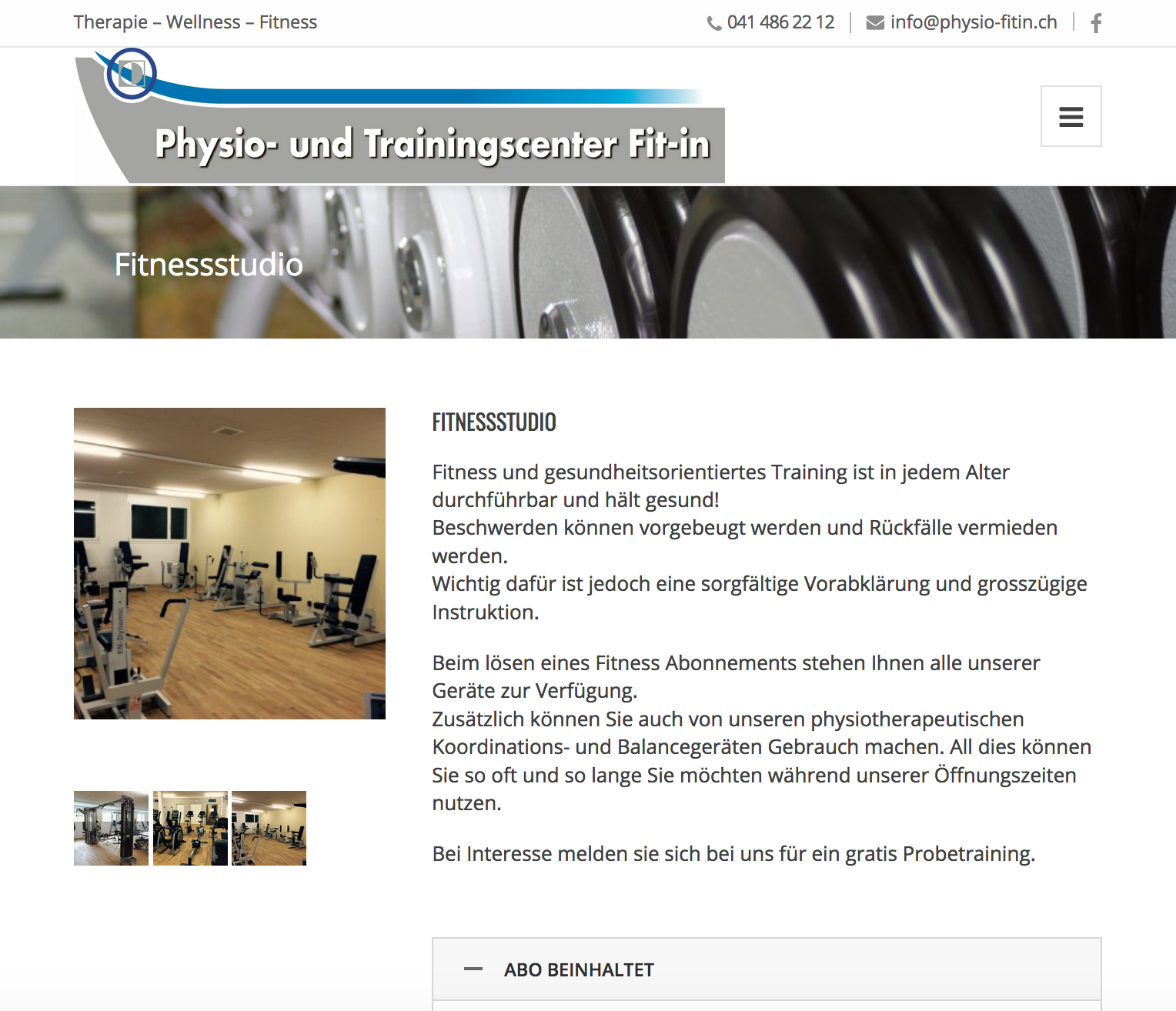 Homepage Physio-fitin