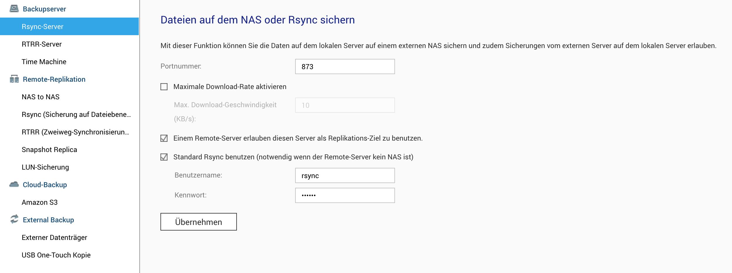 Backup per Rsync einrichten